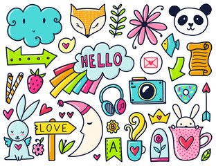 Vector color doodles
