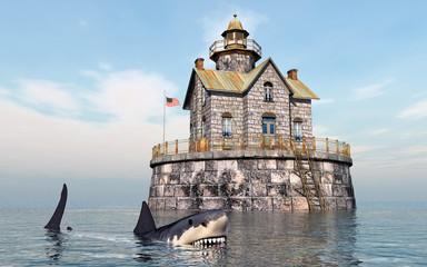 Weißer Hai vor Wohnhaus mit Leuchtturm im Meer