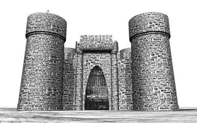 Mittelalterliche Burg vor weißem Hintergrund