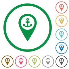 Sea port GPS map location flat icons with outlines