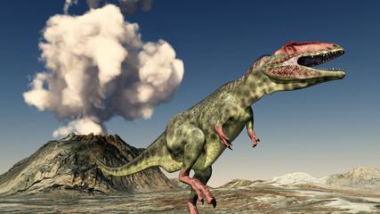 Vulkanausbruch und der Dinosaurier Giganotosaurus