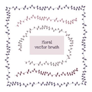 Ivy vine elegant floral pattern brush, vector