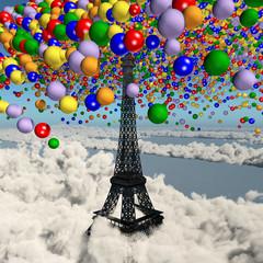 Luftballons über dem Eiffelturm in Paris