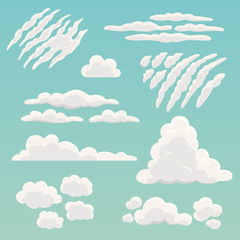Cartoon clouds collection. Vector illustration of different types and shapes of clouds, such as cirrus, cumulus, stratus, cirrostratus. Isolated on background.