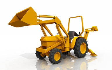 Compact tractor, front loader and backhoe
