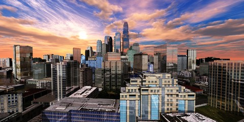 beautiful view of the modern city, the city center at sunset, 3d rendering