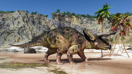 Dinosaur Nasutoceratops at the beach