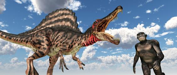 Dinosaurier Spinosaurus und Homo habilis