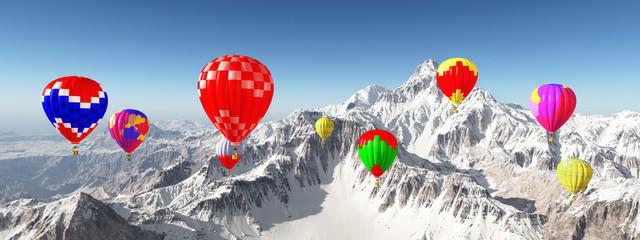 Heißluftballone vor schneebedeckten Bergen