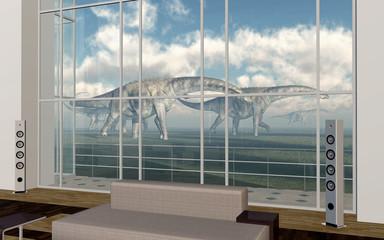 Dinosaurier vor Wohnraum mit hohem Fenster