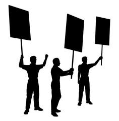 Silhouette mit Demonstranten