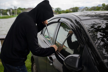 Robber steal a car, Insurance concept