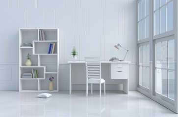 White reading room decorated with tree in vase,pillow,white chair and desk,window,sky,lamp,bookcase,flower,book.White wall.The sun shines through the window. 3d render.