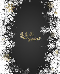Christmas dark background with white and golden snowflakes.