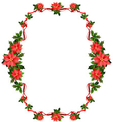 Christmas frame with flowers