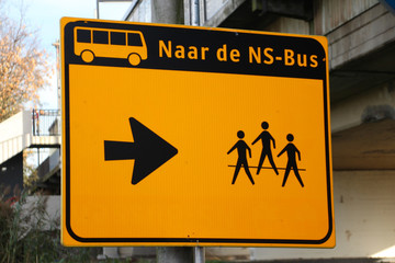 Special sign for travelers to lead them to replacing busses due to maintenance on railway