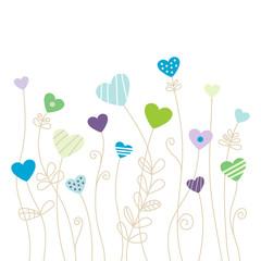 Heartflowers Green/Blue/Purple