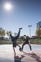 Men playing street ball