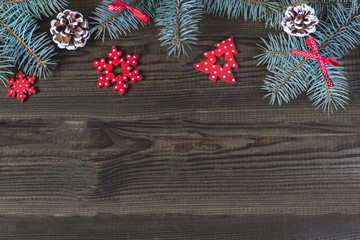 christmas decorations on wooden background. copy space