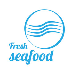 Fresh Seafood logo vector design for shop, market or store. Emblem or banner with blue wave icon in circle and inscription on the white background. Illustration in flat style.