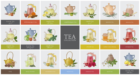Big collection of labels or tags with various types of tea - black, green, rooibos, masala, mate, puer. Set of hand drawn tasty flavored drinks, teapots, cups and spices. Colorful vector illustration.