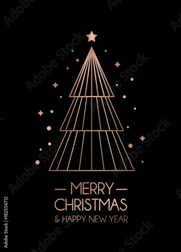 merry christmas and happy new year rose gold greeting card minimalistic christmas card on black