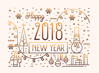 Happy New Year horizontal banner, greeting card or postcard template with festive decorations, gifts and garlands drawn with gradient colored lines. Holiday vector illustration in lineart style.