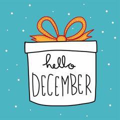 Hello December word in gift box cartoon vector illustration doodle style