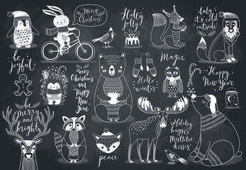 Wall Mural - Cute forest animals set - chalkboard style.