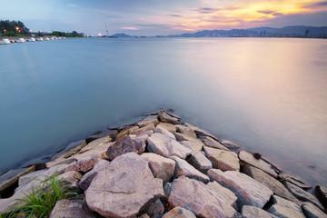 Beautiful golden sunset at Butterworth beach, Penang, Malaysia