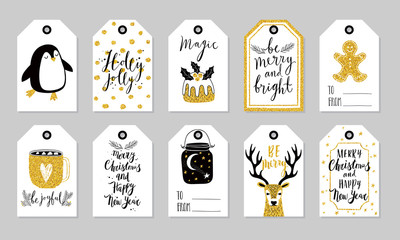 Fototapete - Christmas gift tags set, hand drawn style.