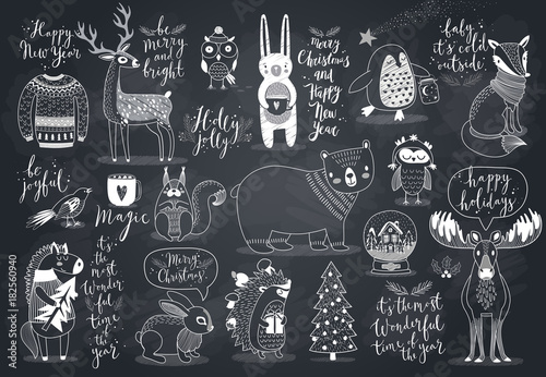 Wall mural Cute forest animals set - chalkboard style.