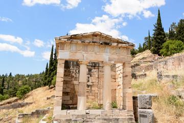 ancient excavations in Delphi , Greece