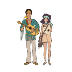 Young hippie man with guitar and woman dressed in ethnic clothing standing together. Male and female characters isolated on white background. Pair of street musicians. Vector illustration.