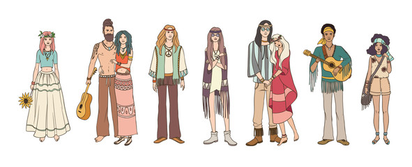 Collection of young hippie men and women dressed in loose ethnic clothing. Bundle of flower children. Set of male and female hand drawn characters isolated on white background. Vector illustration.
