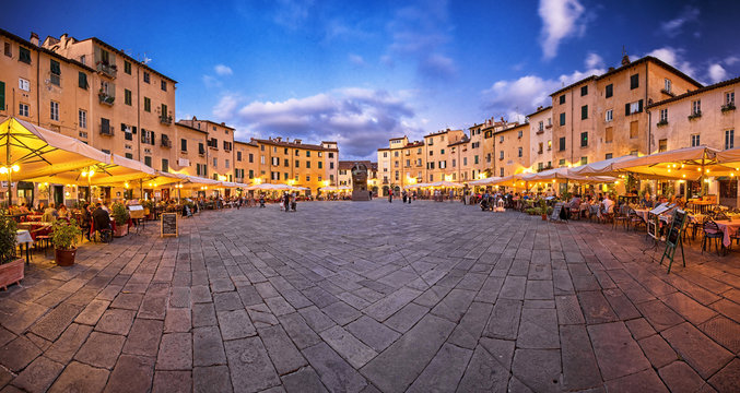 Famous Piazza Anfiteatro in Lucca, Italy