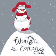 Winter is coming. Snowman on a hill, in a red hat and a scarf, on a ski. Vacations and fan, winter rest. Vector illustration.