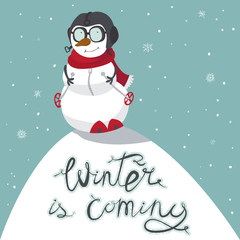 Winter is coming. Snowman on a hill, in a pilot's helmet and a scarf, on a ski. Vacations and fan, winter rest, snowy day. Vector illustration.
