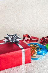 Gift box with ribbon and bow for Christmas design