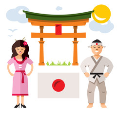 Japan people. Vector Flat style colorful Cartoon illustration.