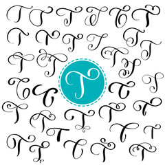 Set letter T. Hand drawn vector flourish calligraphy. Script font. Isolated letters written with ink. Handwritten brush style. Hand lettering for logos packaging design poster