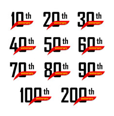 Geometric anniversary signs set, black numbers with yellow text on red ribbon or boomerang, birthday vector logos, business celebration icons collection