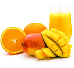 Mango orange smoothie drink in a glass. whole and sliced mango and orange isolated on a white background. product or package design element