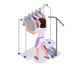 Steaming clothes with steamer, laundress or dry cleaners worker making clothes smooth with steam, isometric 3d vector illustration