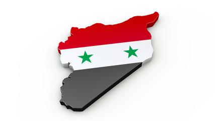 Syrien - 3D Karte mit Umriss, Kontur