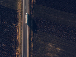 Aerial view of freight transportation truck on the road Wall mural
