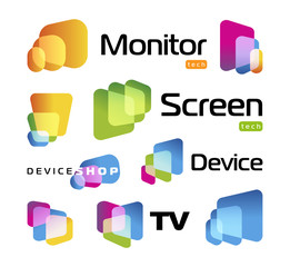 Isolated unusual rectangles with rounded corners intersecting each other.Digital smart TV monitor technology logo. Screen new technology, high resolutions cinema, colorful icons set