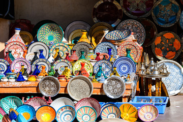 colorful plates at moroccan shop
