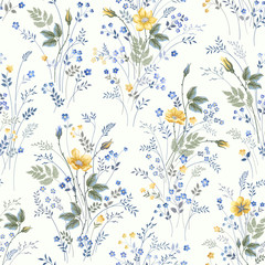 seamless floral pattern with roses on white background