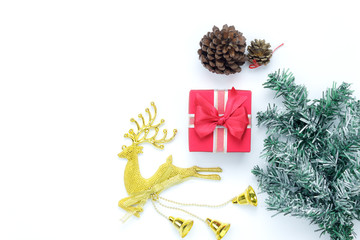 Overhead view aerial image of items decorations merry Christmas & Happy new year background concept.Table top essential accessories on white wooden at home office desk.free space for creative design.